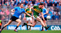Kerry's Tadhg Morley breaks away from Dean Rock during the Allianz Football League Division 1 Final between Dublin and Kerry at Croke Park. Photo: Ramsey Cardy/Sportsfile