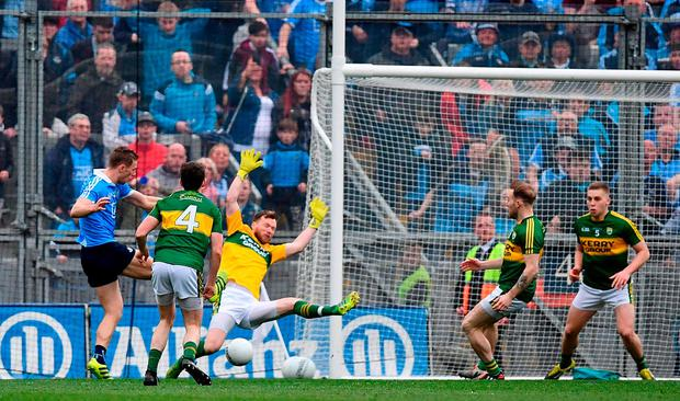 Paul Mannion scores the game's only goal. Photo: Ramsey Cardy/Sportsfile