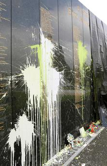 The 1916 Necrology Wall in Glasnevin Cemetery, which was vandalised with paint bombs. Photo: Conor Ó Mearáin