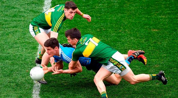 Dublin's Diarmuid Connolly is squeezed out by Kerry duo Paul Geaney and Paul Murphy. Photo: Ray McManus/Sportsfile