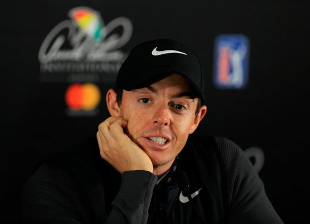Rory McIlroy recieved a slam dunk question about his recent round with President Donald Trump. Photo by Richard Heathcote/Getty Images