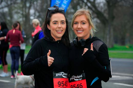 Carla Reardon and Therese Barry, both from Limerick, before the start of the race. Photo: Collins
