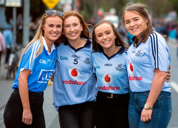 Dublin fans, from left, Cliona Cooley, Auden Lynch, Aoife Malone and Sinead Casserly Photo: Fergal Phillips