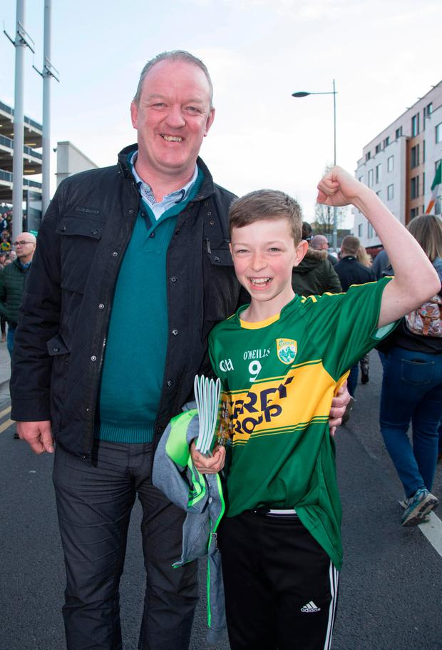 Mick Galwey with his son Ruaidhri (11) Photo: Fergal Phillips