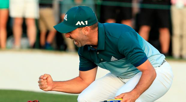 Sergio Garcia of Spain celebrates after defeating Justin Rose (not pictured) of England on the first playoff hole during the final round of the 2017 Masters Tournament at Augusta National Golf Club on April 9, 2017 in Augusta, Georgia. (Photo by Andrew Redington/Getty Images)