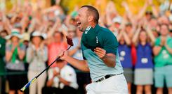 Sergio Garcia reacts after holing the winning putt at Augusta. Photo: AP