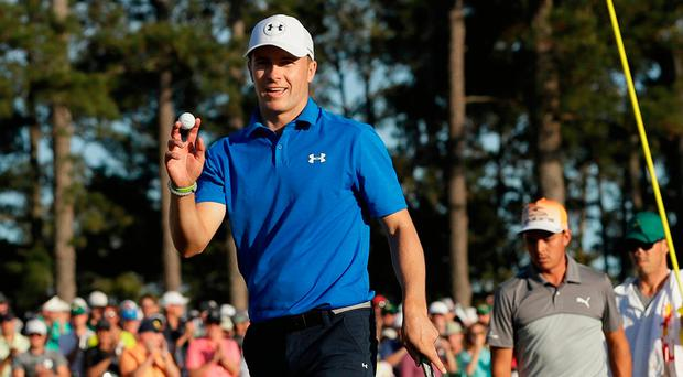 Jordan Spieth reacts after his birdie on the 18th hole during the final round of the Masters in Augusta, Ga. Photo: AP