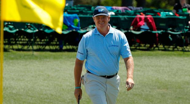 Ernie Els walks up to the 18th green in final round play during the 2017 Masters golf tournament at Augusta National Golf Club. Photo: REUTERS/Jonathan Ernst