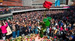 Thousands of people descended on Sergels Torg square, close to the scene of the Stockholm attack, to remember the victims. Photo: Odd Andersen/AFP/Getty Images