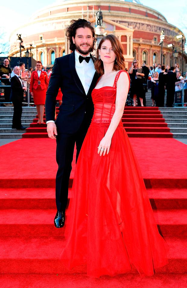 Rose Leslie and Kit Harington attend The Olivier Awards 2017 at Royal Albert Hall on April 9, 2017 in London, England. (Photo by Jeff Spicer/Getty Images)