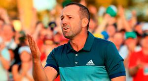 Sergio Garcia celebrates on the 18th green at Augusta last night
