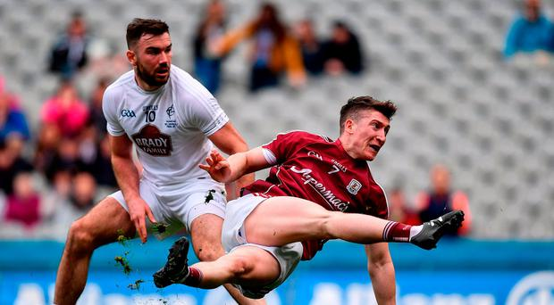 Johnny Heaney of Galway watches his shot at goal during the Allianz Football League Division Two Final between Kildare and Galway at Croke Park yesterday