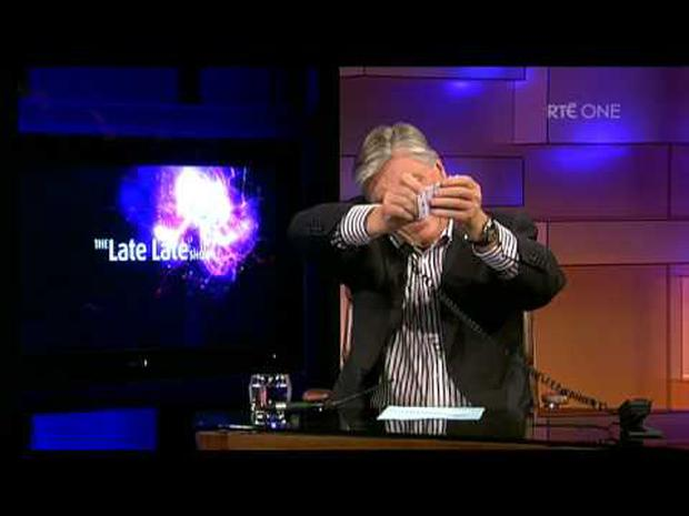 Pat Kenny isn't one bit impressed with his The Late Late Toy Show competition winner. Pic: RTE