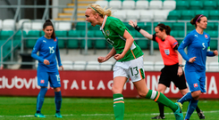 Stephaine Roche celebrates after scoring