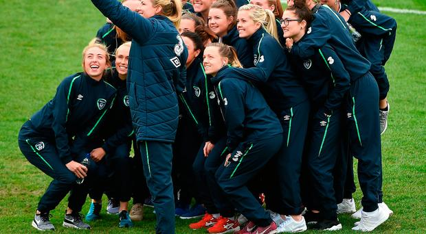 10 April 2017; Republic of Ireland goalkeeper Emma Byrne, takes a selfie with her teammates before the Women's International Friendly match between Republic of Ireland and Slovakia at Tallaght Stadium in Tallaght, Co. Dublin. Photo by David Maher/Sportsfile