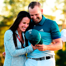 Sergio Garcia embraces fiancee Angela Akins in celebration after winning the 2017 Masters Tournament at Augusta. Photo: Harry How/Getty Images