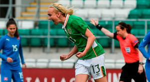 Stephanie Roche celebrates after scoring from the spot. Photo: David Maher/Sportsfile