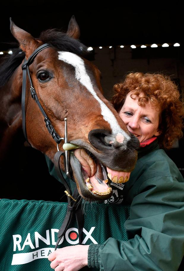 Grand National winner One For Arthur with Lucinda Russell. Photo: PA