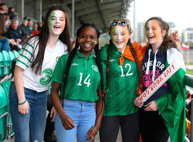 Ireland supporters Katie Power, Pearl Ngengebula, Sinead Ring and Abbie O'Mahony, from Cork, at the match. Photo: Damien Eagers