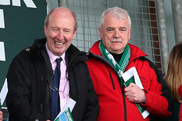 Sports Minister Shane Ross and Disabilities Minister Finian McGrath watched the game from the stands. Photo: Damien Eagers