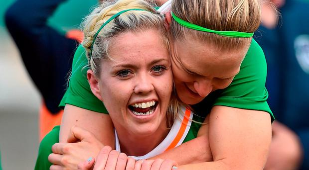 Denise O'Sullivan celebrates with team-mate Diane Caldwell after the final whistle. Photo: David Maher/Sportsfile