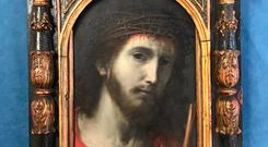 19th-Century oil-on-copper panel entitled 'Jesus Wearing the Crown of Thorns'