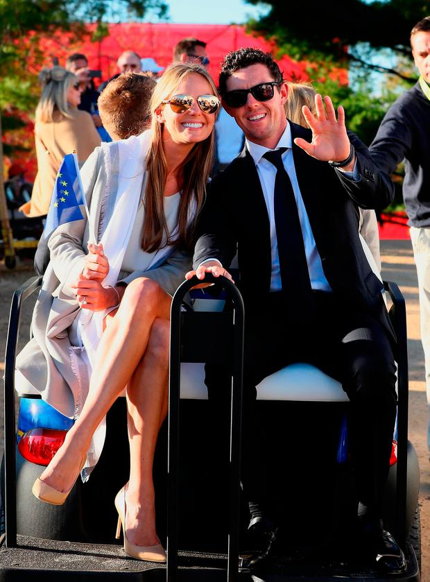 Rory McIlroy and his fiancee Erica Stoll. Photo: Andrew Redington/Getty Images