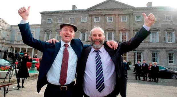 The Healy-Rae brothers Michael (left) and Danny, Independent deputies for Kerry, at Leinster House