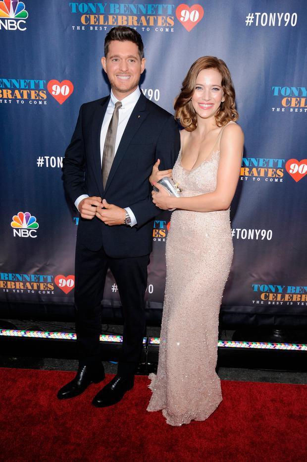 Michael Buble (L) and Luisana Lopilato attend Tony Bennett Celebrates 90: The Best Is Yet To Come at Radio City Music Hall on September 15, 2016 in New York City. (Photo by Matthew Eisman/Getty Images)