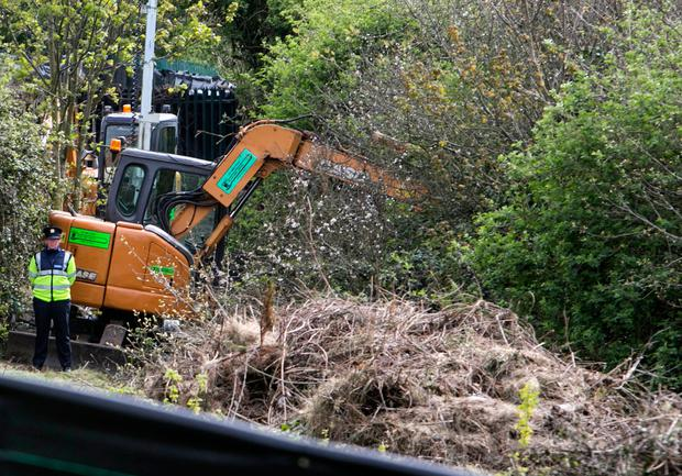 The dig site in Tolka Valley Park in Finglas where a Human Torso was discovered .