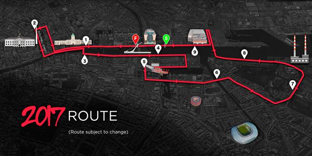Map of the new and exciting Virgin Night Run route.