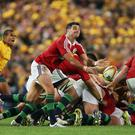 SYDNEY, AUSTRALIA - JULY 06: Mike Phillips of the Lions clears the ball during the International Test match between the Australian Wallabies and British & Irish Lions at ANZ Stadium on July 6, 2013 in Sydney, Australia. (Photo by Matt King/Getty Images)