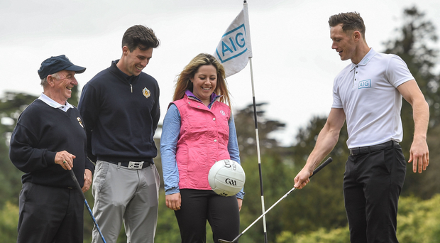 Christy Roche, Alex Gleeson, Mary Doyle and Paul Flynn at the launch of this year's AIG Cup and Shield competitions. Photo: Sportsfile