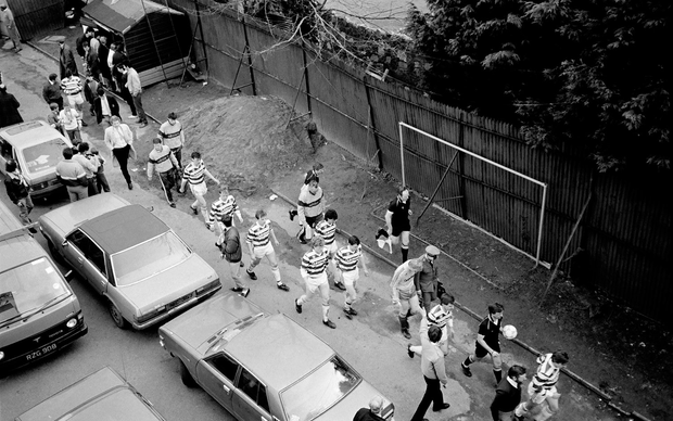 The Shamrock Rovers players walk from the dressing rooms before that final match. Photo: Ray McManus/Sportsfile