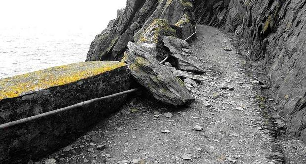 The fallen rocks close to the Skellig Michael visitor site