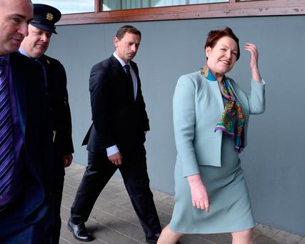 Garda Commissioner Noirin O'Sullivan arrives at the AGSI conference in the INEC, Killarney, yesterday. Photo: Don MacMonagle