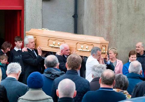 A large crowd attended the funeral of popular mechanic Aidan Cummins in Co Wexford. Photo: Mary Browne