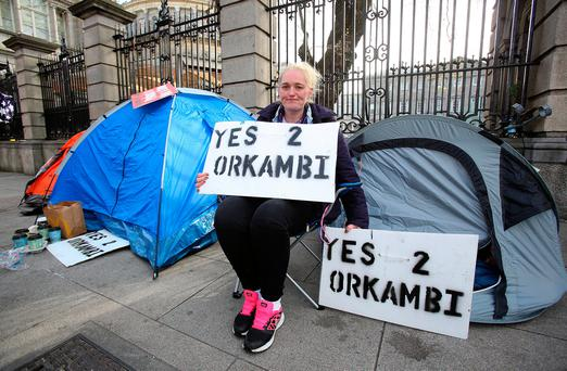 Hazel Robinson, of Drumlish, Co Longford, who has been sleeping outside the Dáil in the hope of getting long-term access to Orkambi for daughter Gypsy Ann (14). Photo: Tom Burke