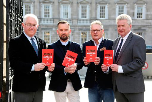From Left, Professor Joe Harbison, the outgoing head of the HSE's National Stroke Programme, Brendan Courtney, the TV presenter and homecare campaigner, George Byrne, Athy, Co.Kildare, stroke survivor and Chris Macey, Irish Heart head of advocacy pictured at the launch of the Irish Heart Manifesto blueprint aiming to eliminate preventable death and disability from stroke. Photo: Tom Burke