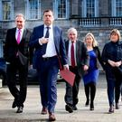 Fianna Fáil representatives prepare to address the media on the water charges issue at Leinster House last month. Photo: Tom Burke