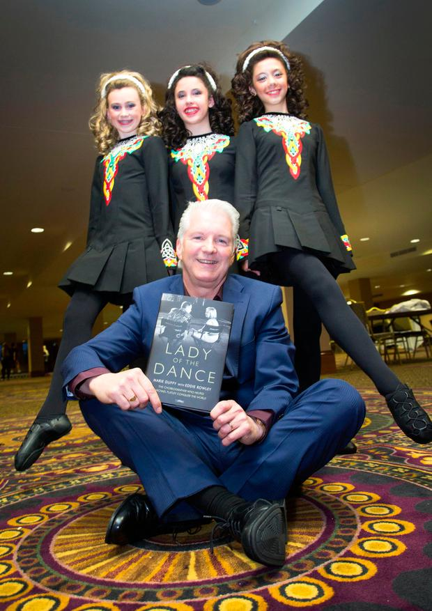 journalist Eddie Rowley launched his book 'Lady of the Dance' at the hotel with dancers Monaghan Flynn (13), Sarah Ebangelisti (11) and Ellie Gonzales (12), from Chicago. Photo: Colin O'Riordan