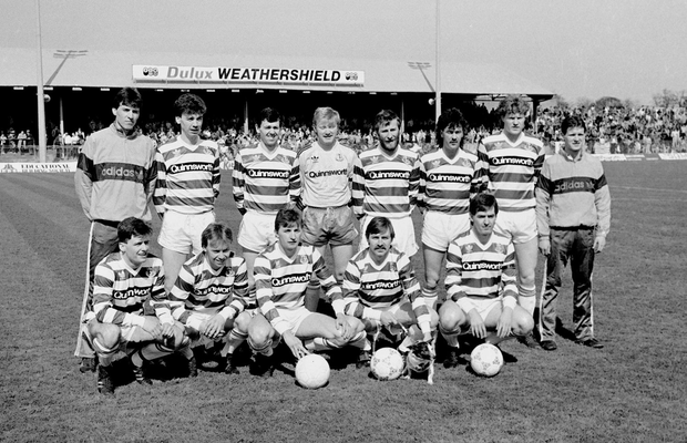The Shamrock Rovers team 30 years ago today (back row, from left) Johnny Glynn, Peter Eccles, Kevin Brady, Jodi Byrne, Dermot Keely, Mick Byrne, Brendan Murphy. Front row, from left: Harry Kenny, Keith Duignam, Mick Neville, Pat Byrne, Noel Larkin and Eoin Monaghan. Photo: Ray McManus/Sportsfile