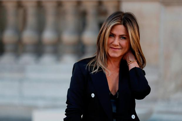 Actress Jennifer Aniston arrives to attend a dinner organized by French luxury group Louis Vuitton for the launching of new leather accessories in Paris, France, April 11, 2017. REUTERS/Gonzalo Fuentes