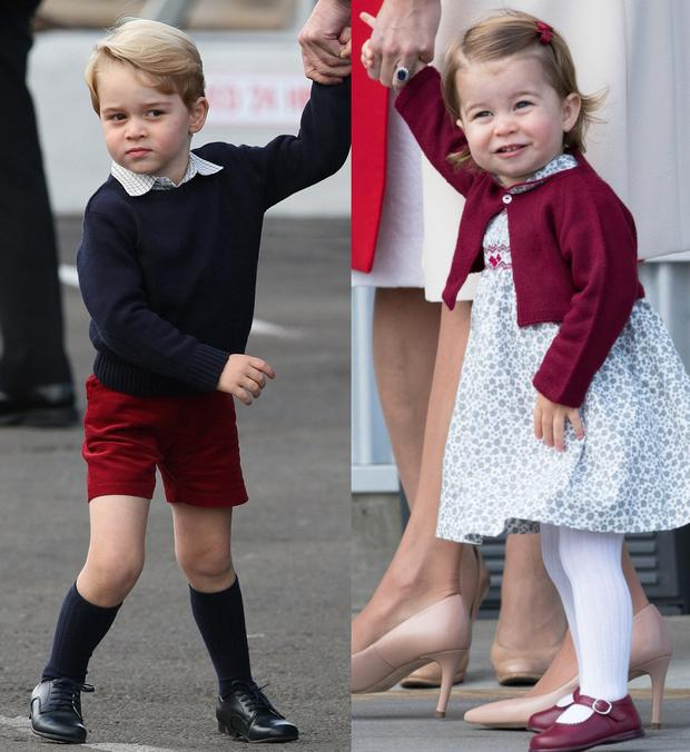 Prince George, left, and Princess Charlotte, right