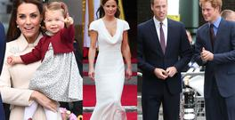 Kate Middleton and Princess Charlotte, left, Pippa Middleton, centre, Prince William and Prince Harry, right