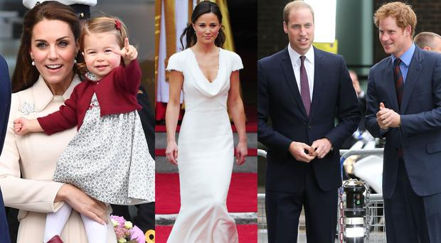 Kate Middleton and Princess Charlotte left Pippa Middleton centre Prince William and Prince Harry right