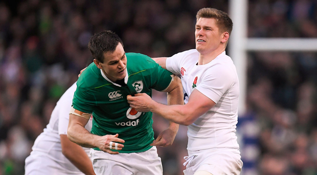 18 March 2017; Jonathan Sexton of Ireland is tackled by Owen Farrell of England during the RBS Six Nations Rugby Championship match between Ireland and England at the Aviva Stadium in Lansdowne Road, Dublin. Photo by Brendan Moran/Sportsfile