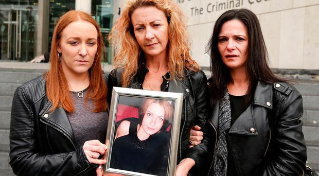 Anna Finnegan murder trial. Caoimhe De Brun, Lisa Finnegan (sister of Anna), Janice O'Neill outside the Criminal Courts of Justice. Picture; Gerry Mooney
