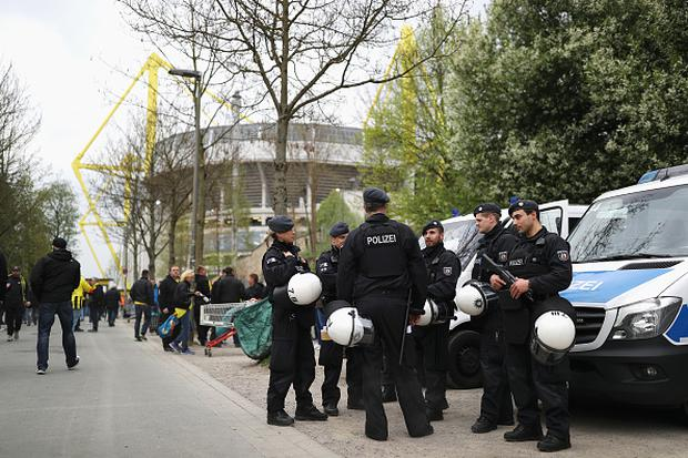 Police patrol outside the ground prior to the UEFA Champions League Quarter Final first leg match between Borussia Dortmund and AS Monaco at Signal Iduna Park. (Photo by Maja Hitij/Bongarts/Getty Images)