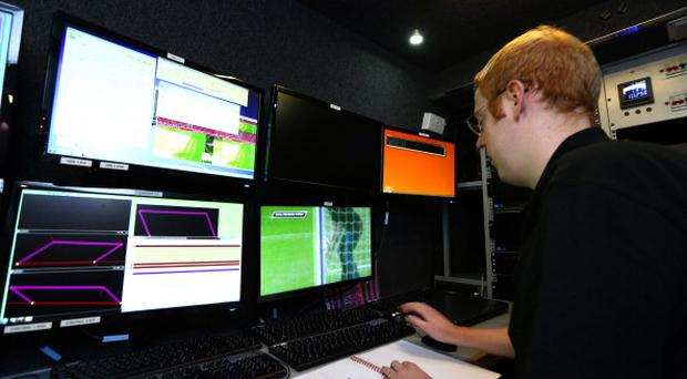 General view inside the GDS truck during the Goal Decision System (GDS) media event at the Emirates Stadium on August 8, 2013 in London, England. (Photo by Jan Kruger/Getty Images)
